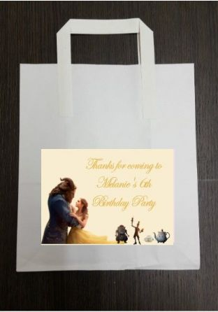 4 x Beauty & the Beast Birthday Party Bags with Personalised Sticker